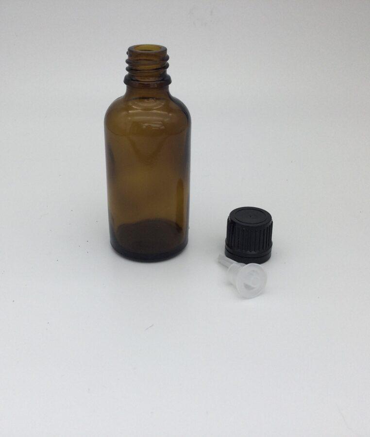 Stikla pudelīte ar korķi un pilinātāju, 50 ml.