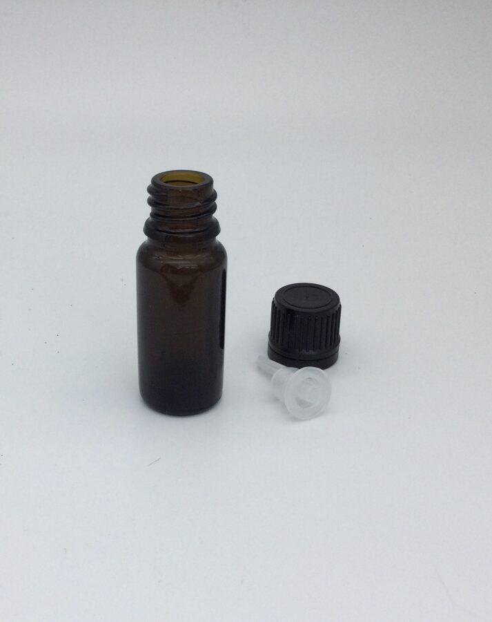 Stikla pudelīte ar pilinātāju un korķi, 10 ml